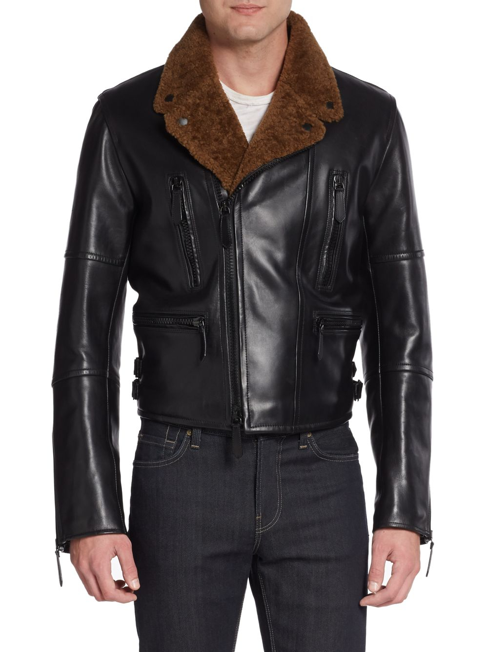 Burberry Prorsum Leather Amp Shearling Moto Jacket In Black