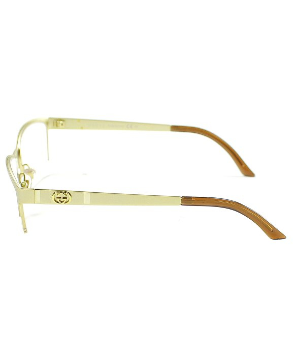 gucci gg 4236 820 gold semi rimless eyeglasses in metallic