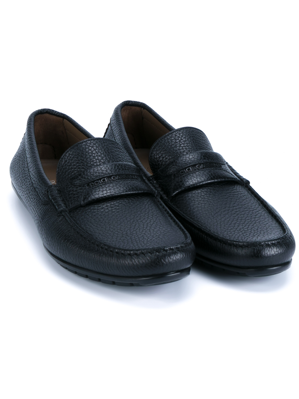 832df0033d5 Lyst - Dolce   Gabbana Leather Driving Loafers in Black for Men