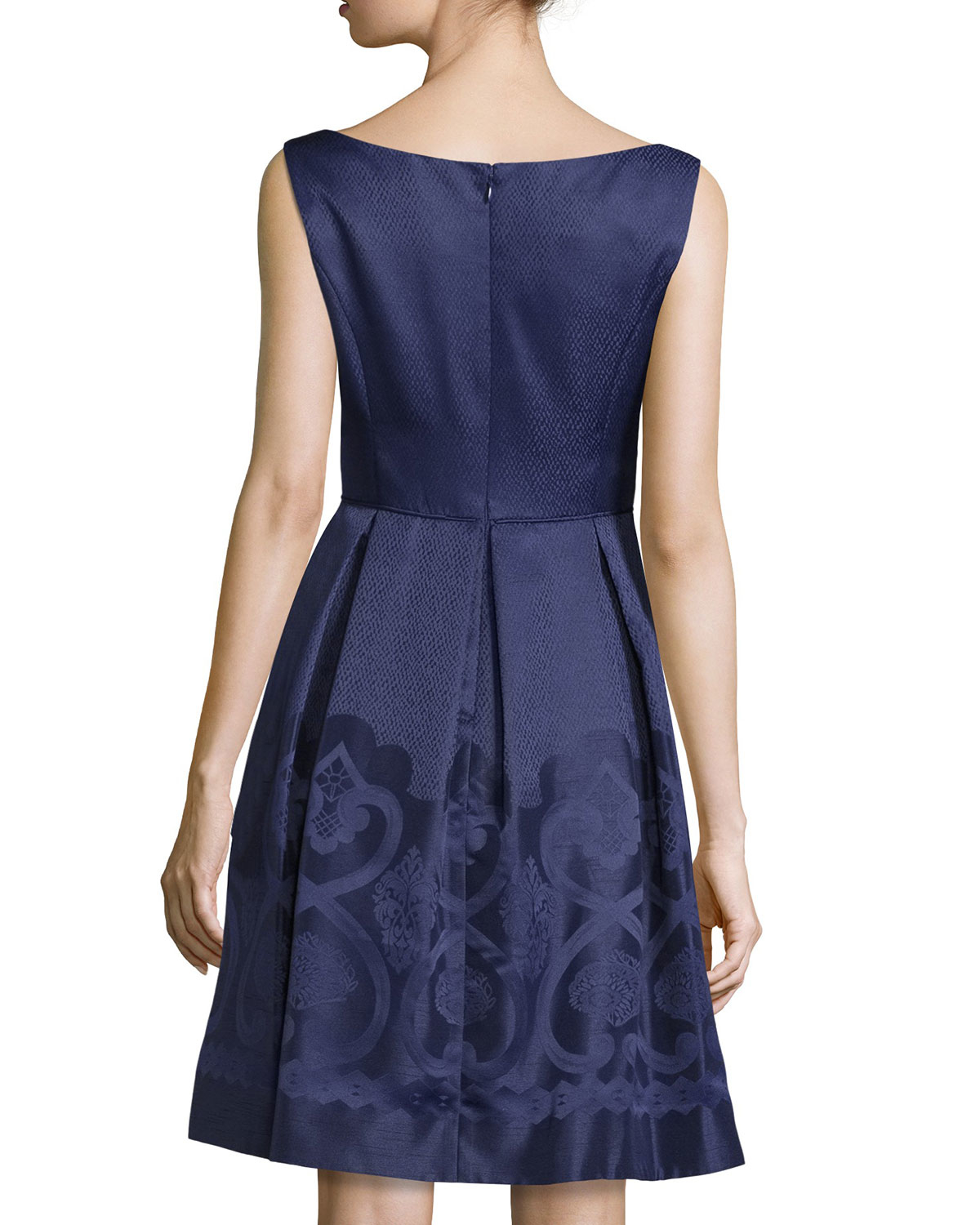 Maggy London Synthetic V Neck Jacquard Fit And Flare Dress