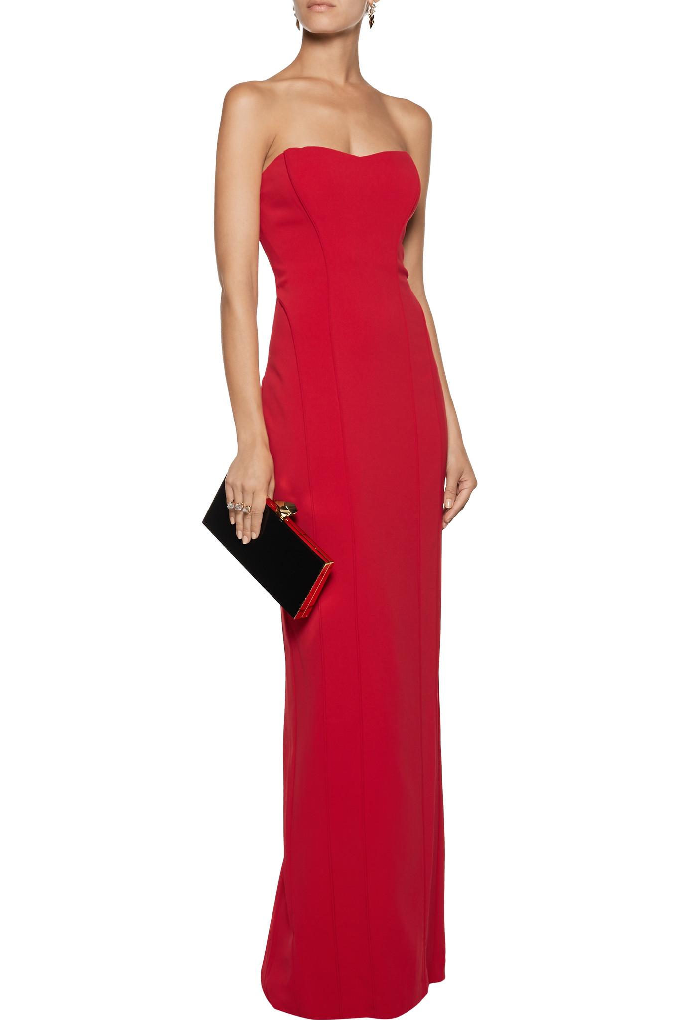 Badgley Mischka Odessa Ponte Gown in Red - Lyst