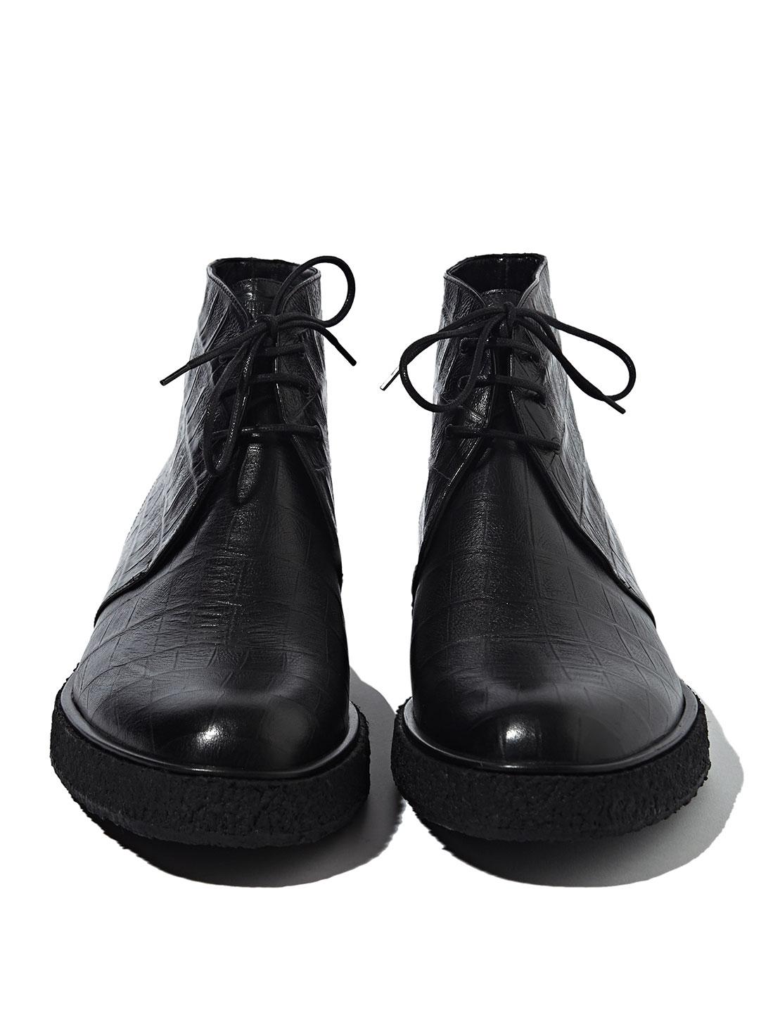 Saint Laurent Faux Crocodile Boots In Black For Men Lyst