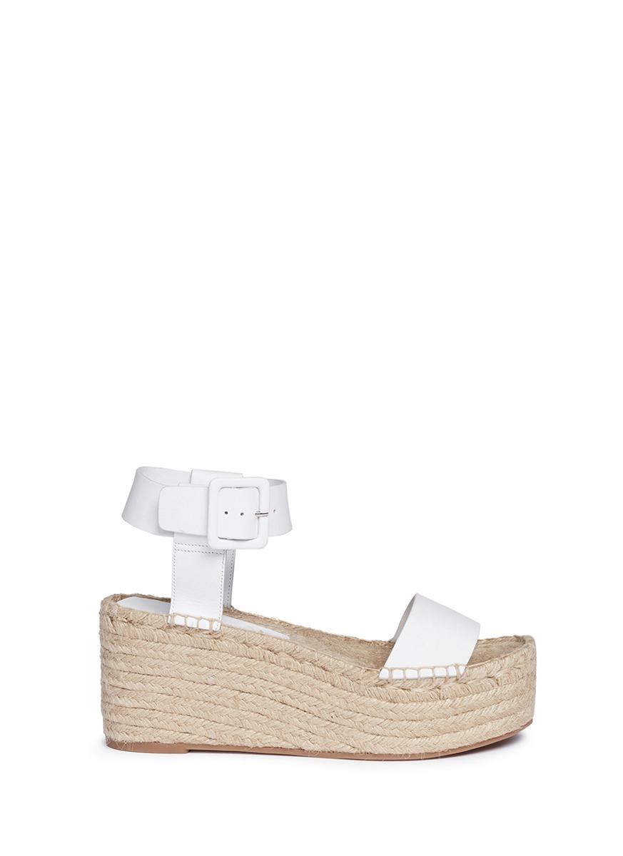 cf3b45c2 Vince White 'abby' Leather Espadrille Platform Sandals