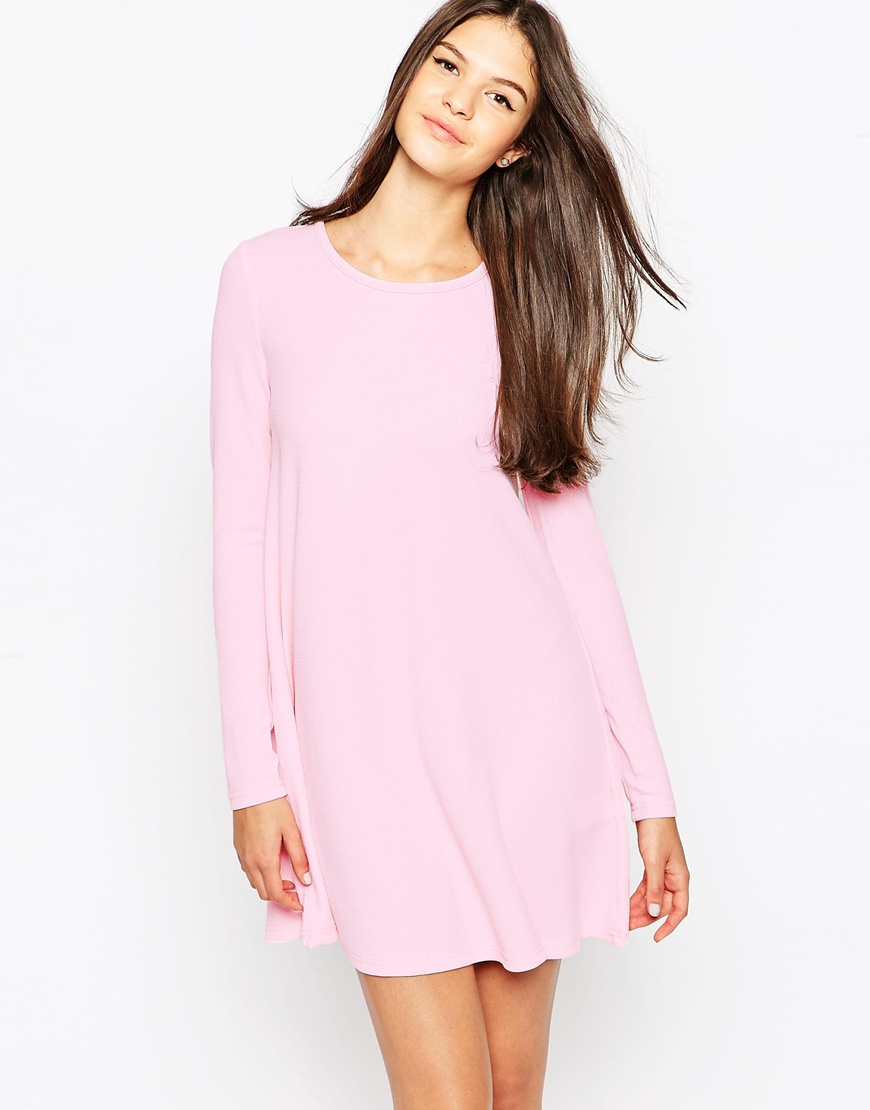Ax paris Long Sleeve Swing Dress in Pink | Lyst