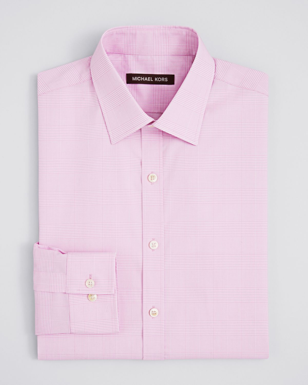 Michael kors glen plaid dress shirt regular fit in pink for Pink checkered dress shirt