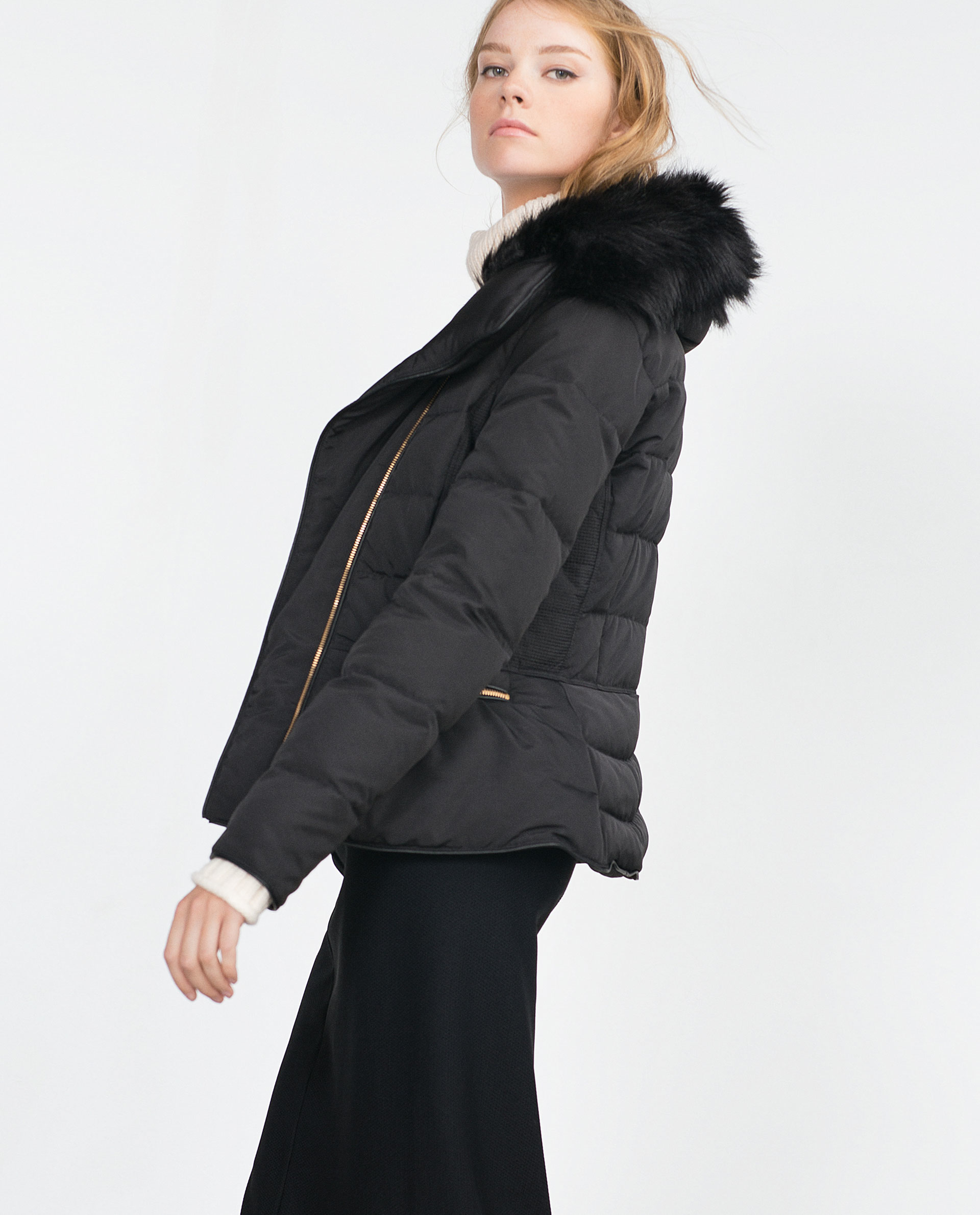 Zara Quilted Feather Coat In Black Lyst