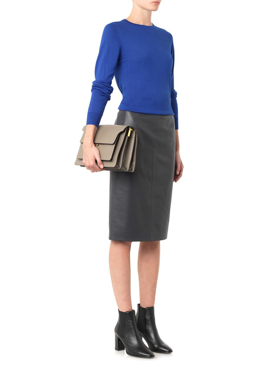 freda charcoal grey leather pencil skirt in gray lyst