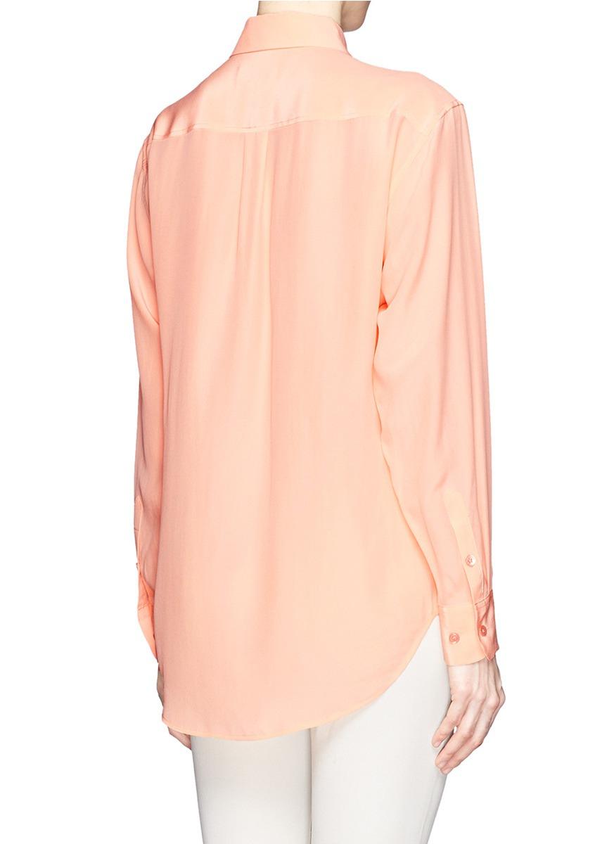 Equipment signature silk shirt in orange lyst for Equipment signature silk shirt
