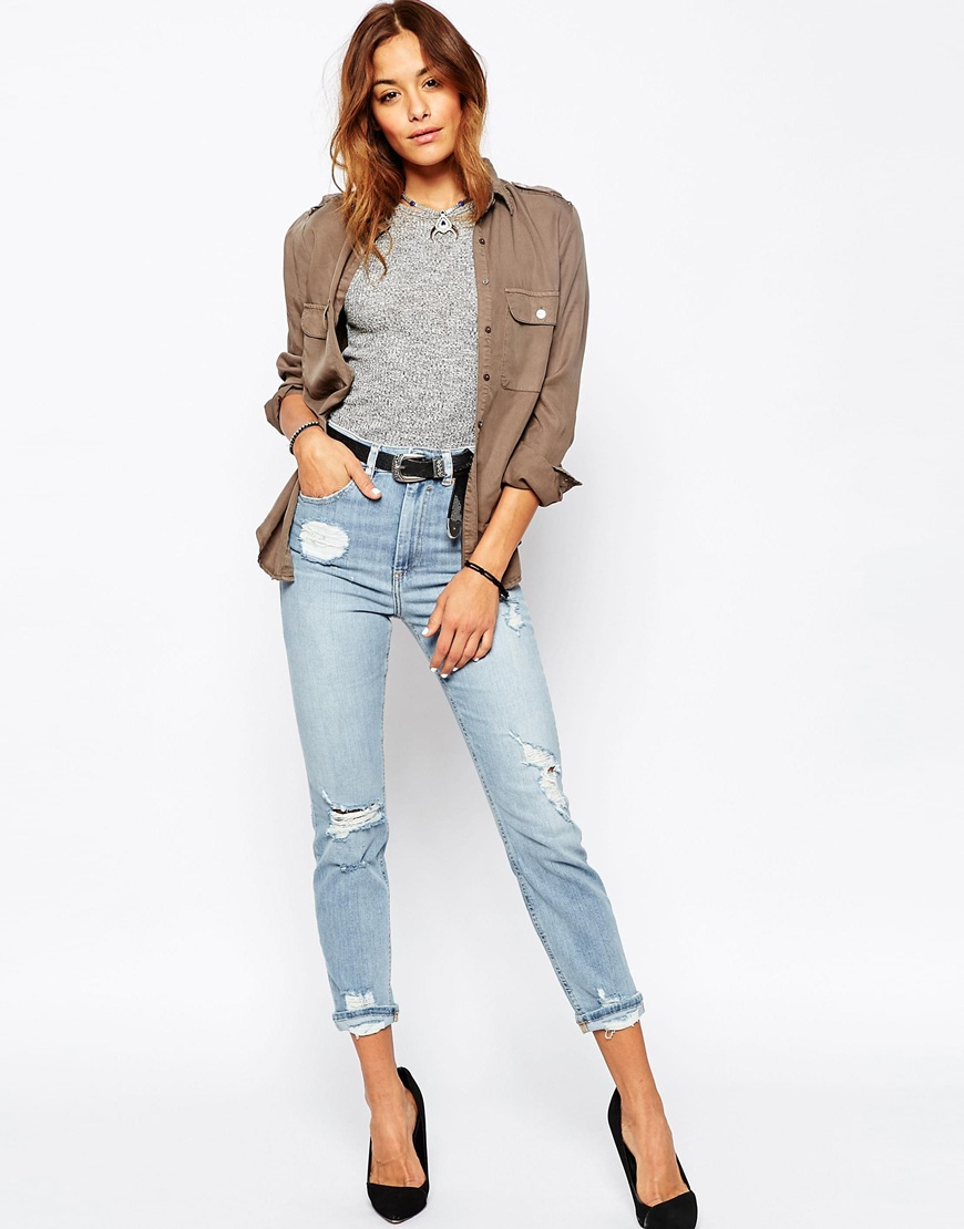 asos farleigh high waist slim mom jeans in forever blue. Black Bedroom Furniture Sets. Home Design Ideas