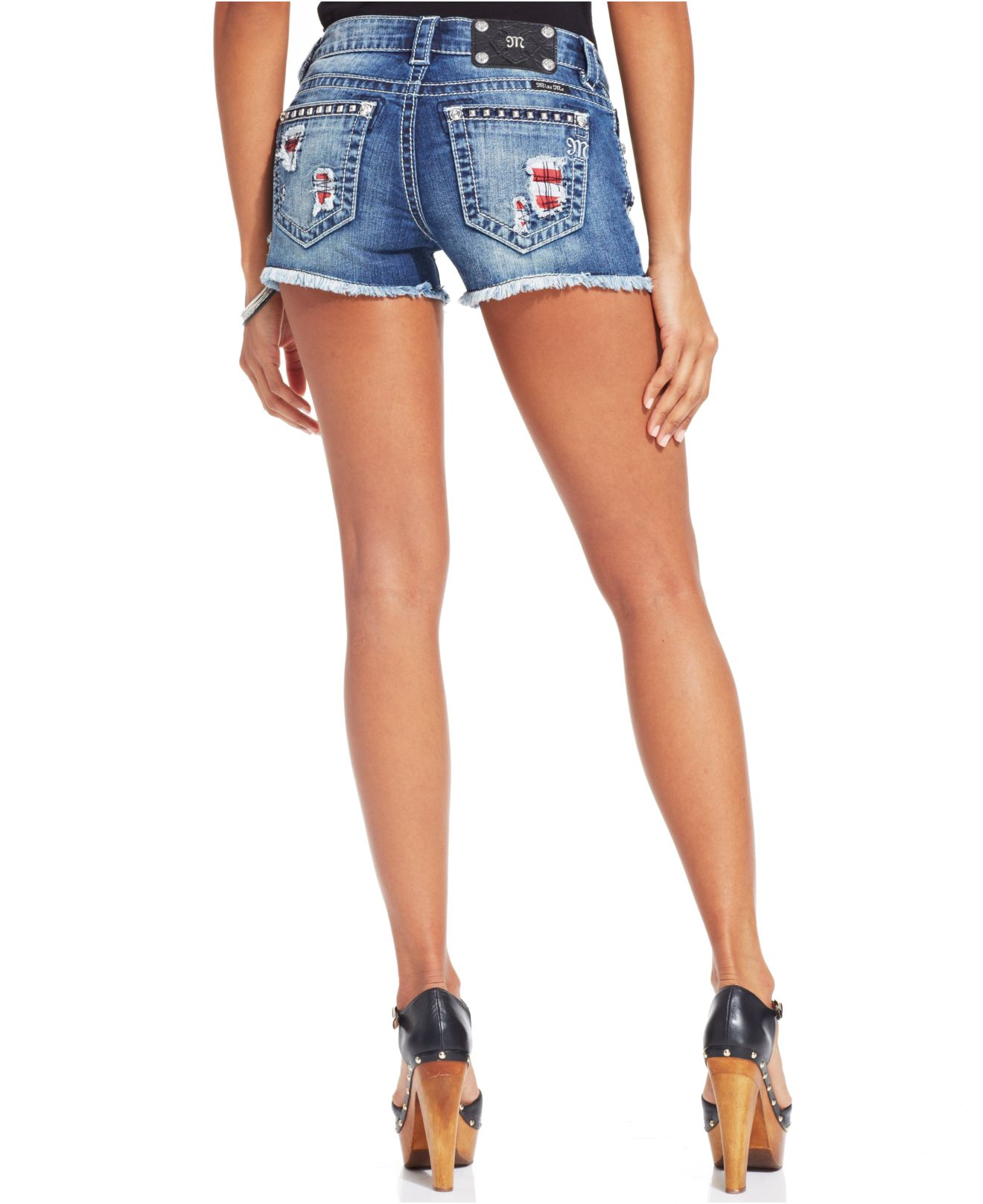 Miss me studded flag embroidered denim shorts in blue lyst