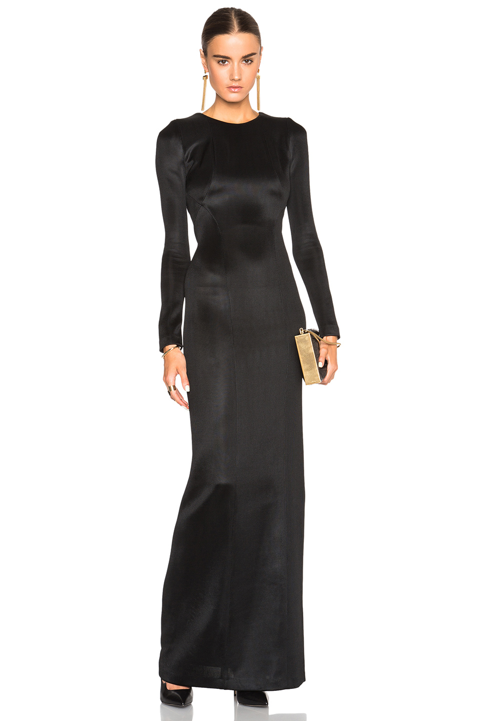 Collection Black Long Sleeve Backless Dress Pictures - Reikian