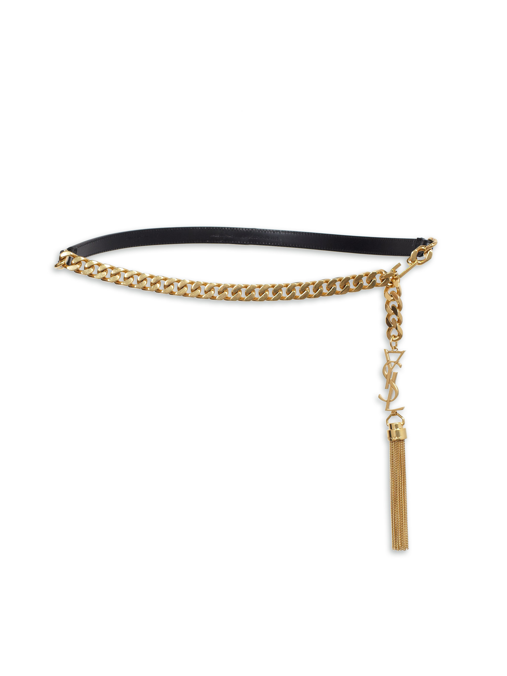 6a436614bfe Saint Laurent Ysl Leather Chain Belt in Metallic - Lyst