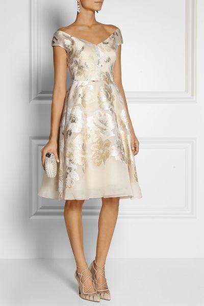 Lela Rose Metallic Fil Coup 227 169 Dress In Beige White Lyst