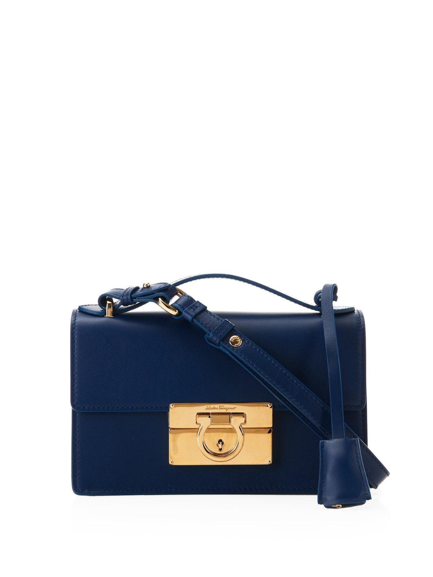 f79074785e6d Lyst - Ferragamo Aileen Small Leather Cross-body Bag in Blue