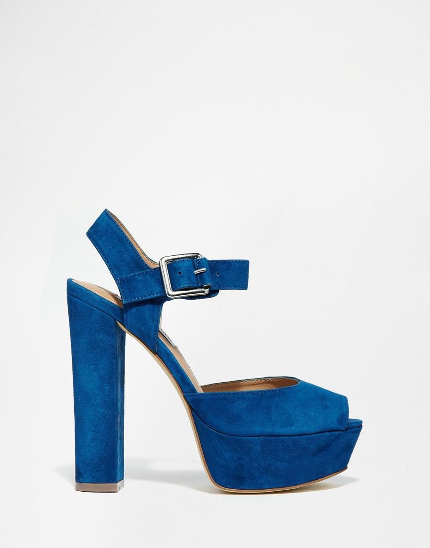 705996b4776 Lyst - Steve Madden Jillyy Navy Platform Heeled Sandals in Blue