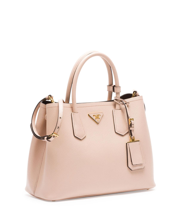 prada cross bag - Prada Saffiano Cuir Small Double Bag in Pink (BLUSH) | Lyst