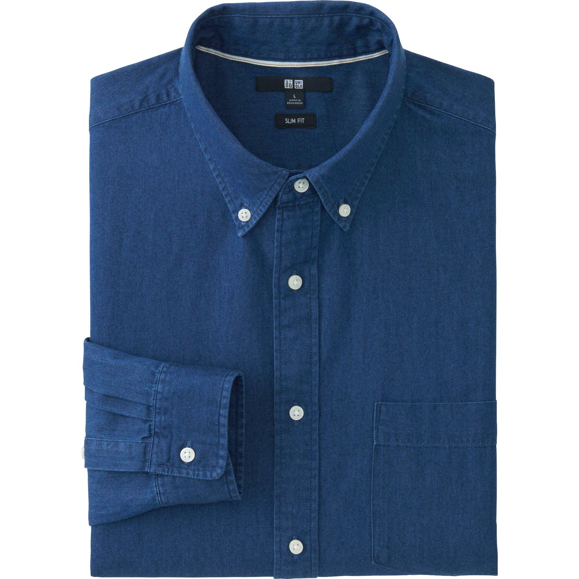 Uniqlo men 39 s slim fit denim shirt in blue for men lyst for Uniqlo t shirt sizing
