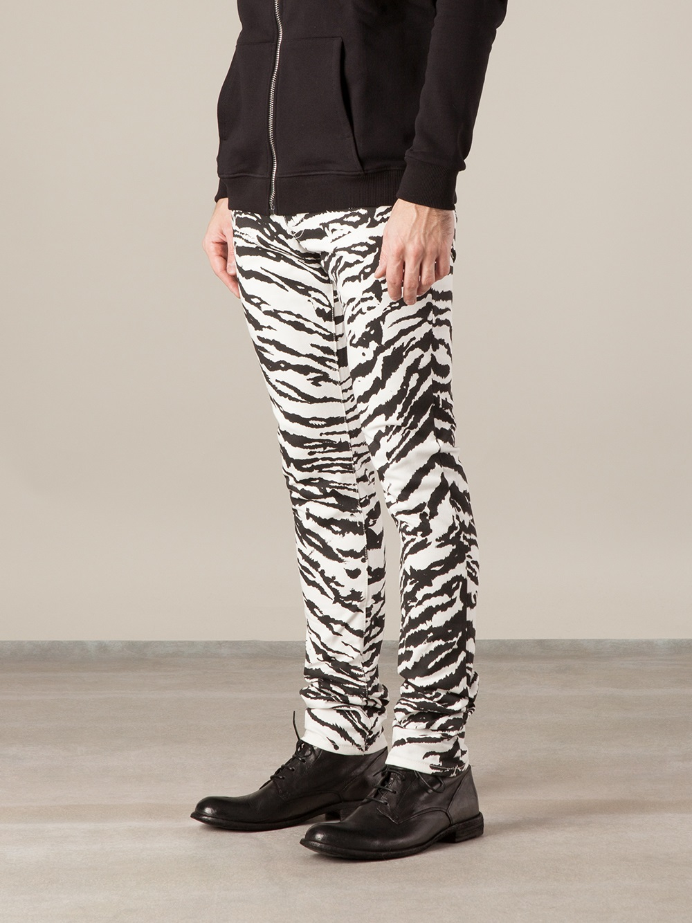 Saint laurent Zebra Print Skinny Jean in Gray for Men | Lyst