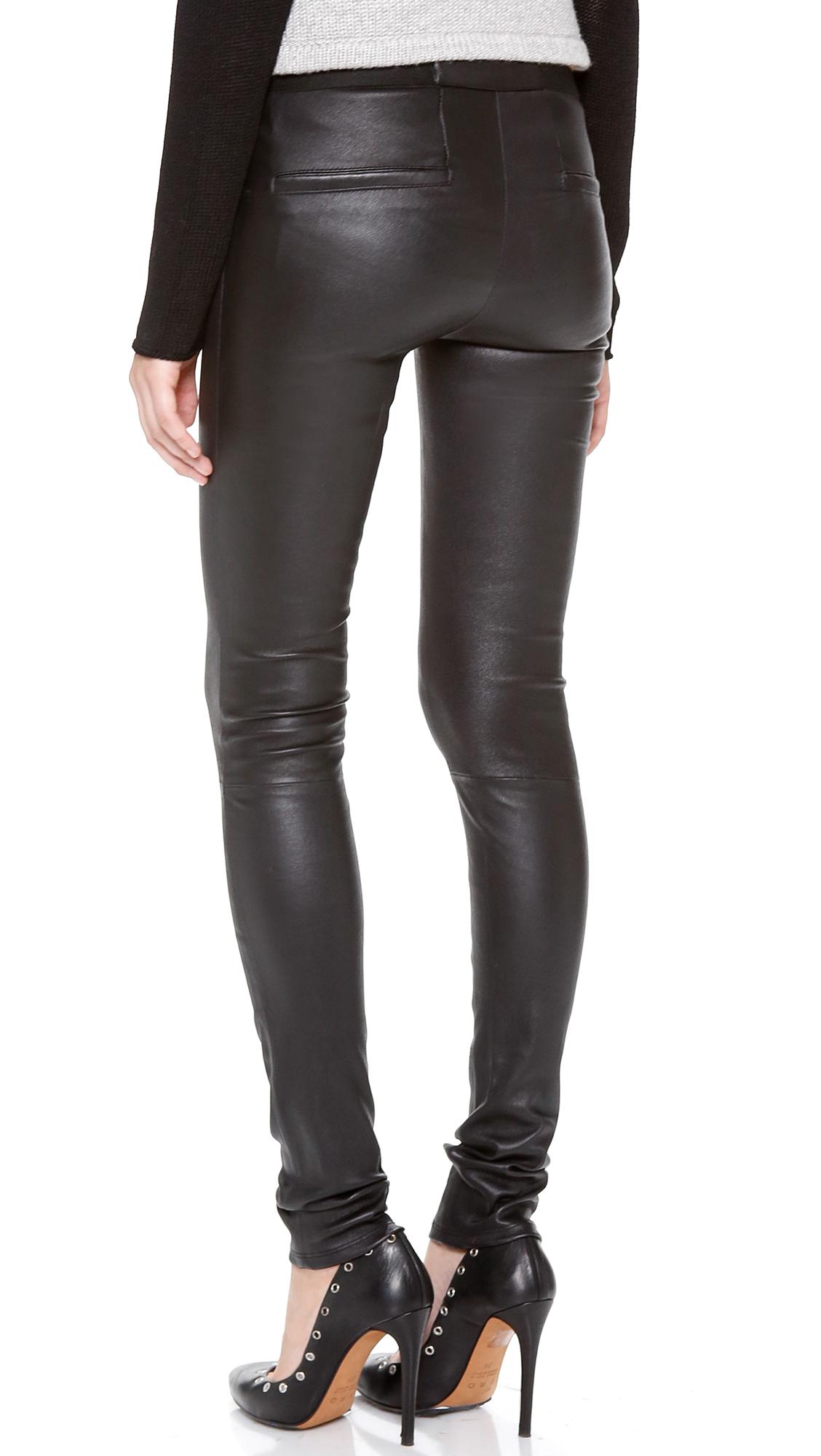 Helmut lang Stretch Plonge Leather Leggings in Black | Lyst