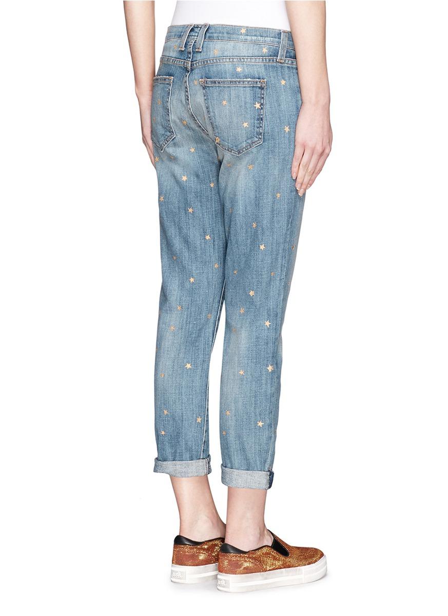 Current/Elliott The Fling Metallic Star Print Boyfriend Jeans in Blue
