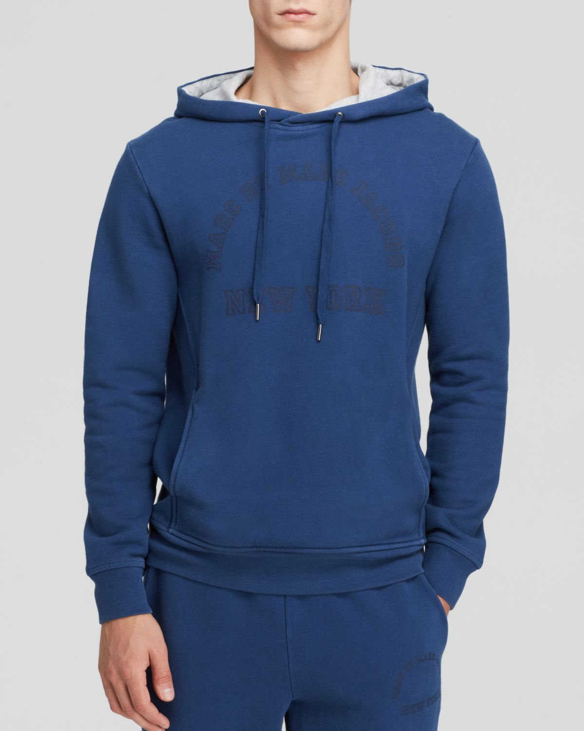 marc by marc jacobs logo pullover hoodie in blue for men lyst. Black Bedroom Furniture Sets. Home Design Ideas