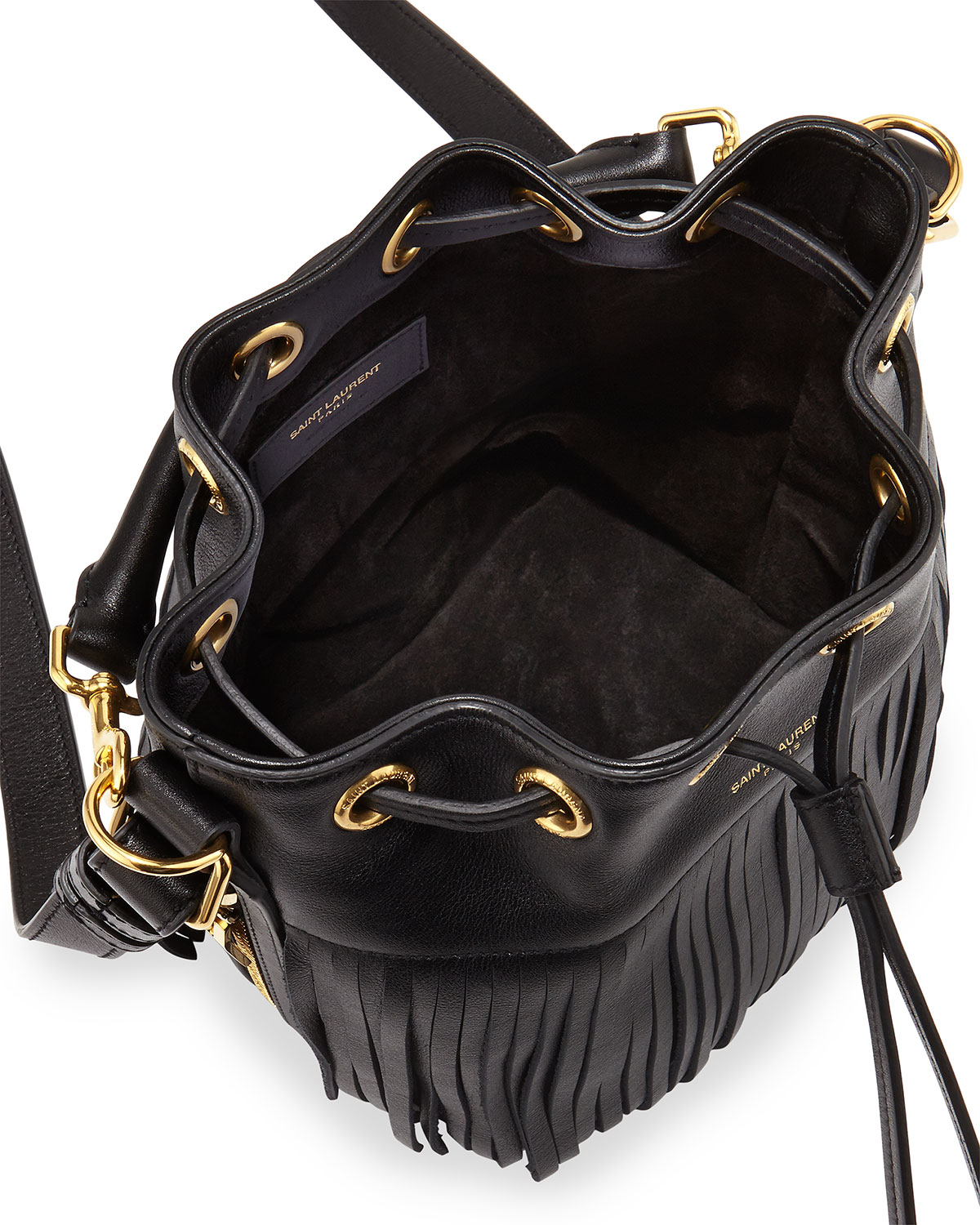 ysl bags new collection - emmanuel small studded fringe bucket bag, black
