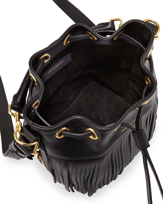 huge handbags for cheap - emmanuel small studded fringe bucket bag, black
