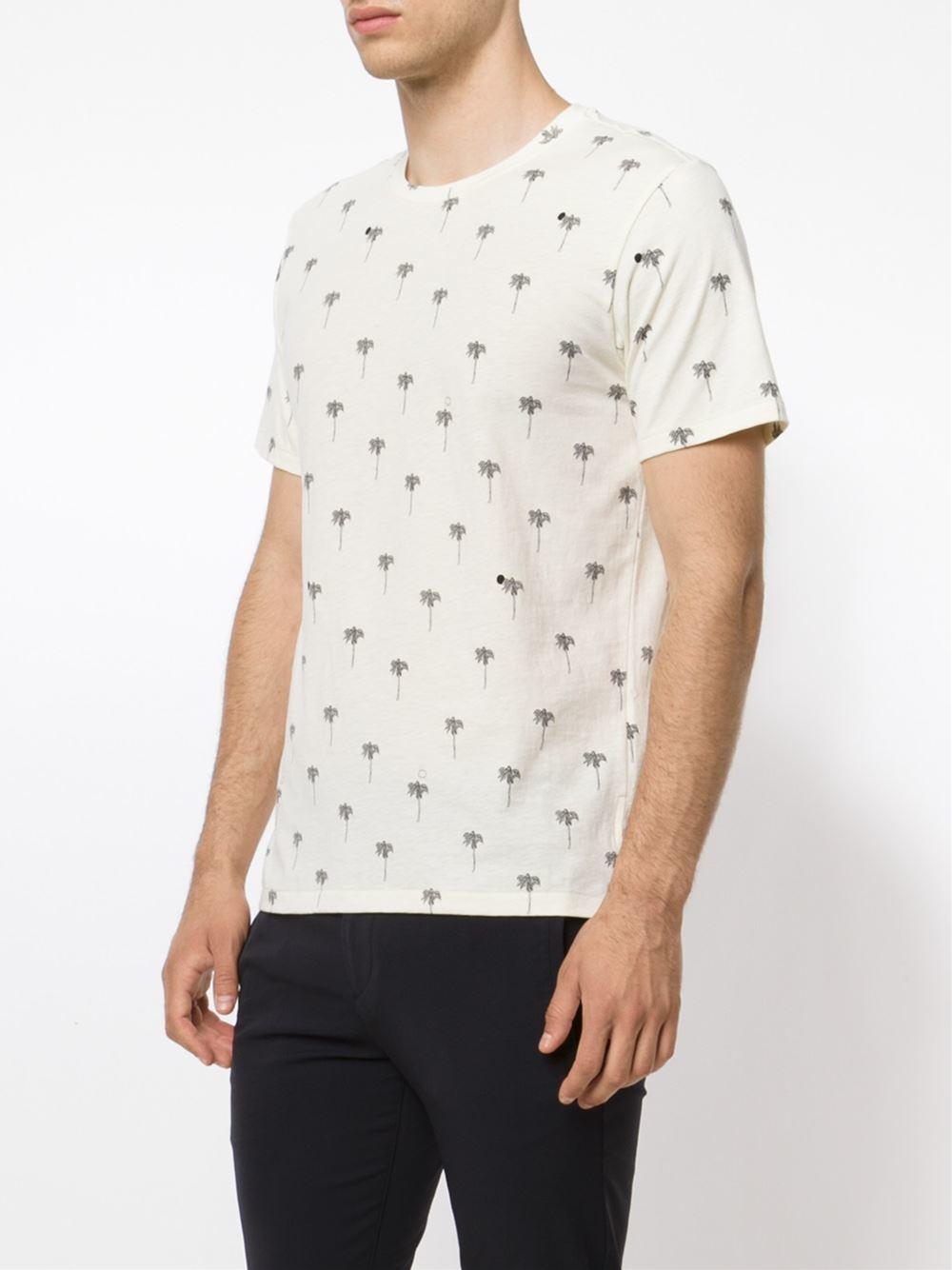 Rag bone palm tree print t shirt in white for men lyst for Rag and bone t shirts