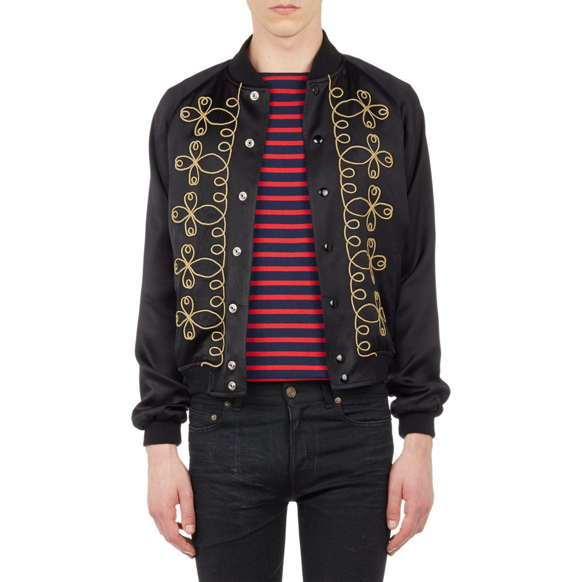 Saint laurent embroidered satin varsity jacket in black