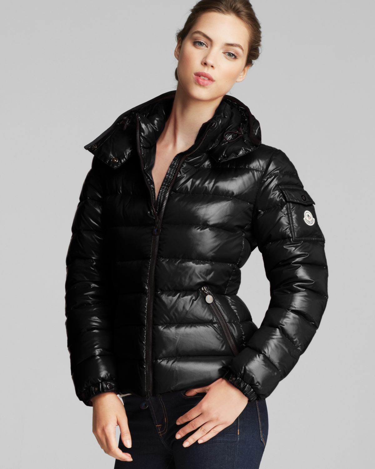 moncler bady lacquer hooded short down coat in black lyst. Black Bedroom Furniture Sets. Home Design Ideas