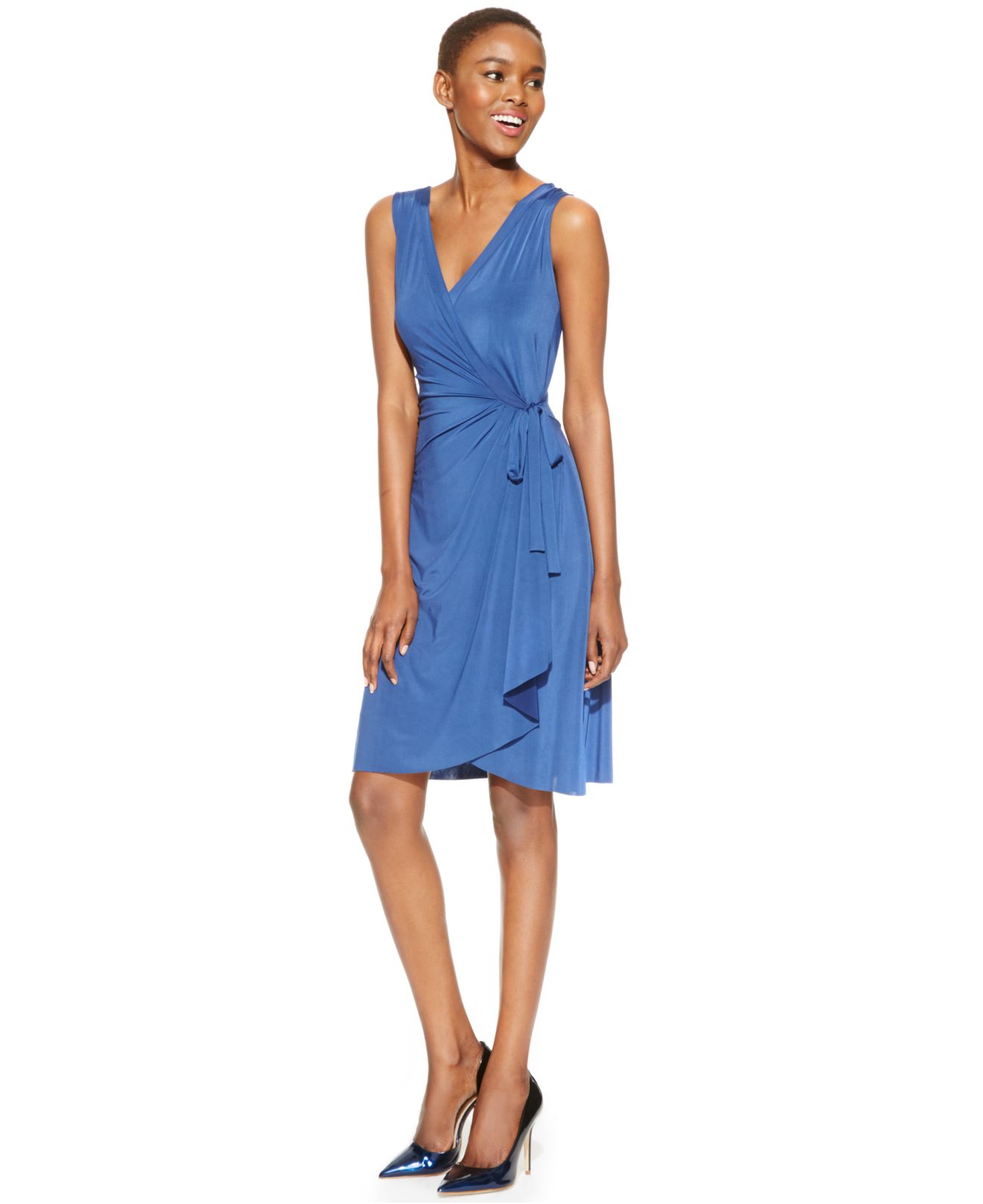 Miraclesuit Sleeveless Faux-wrap Dress in Blue | Lyst