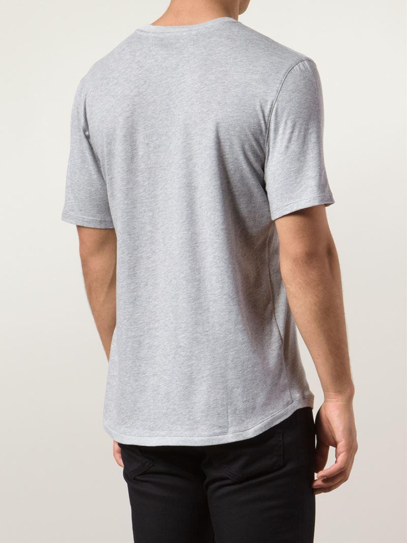helmut lang crew neck cotton blend t shirt in gray for men. Black Bedroom Furniture Sets. Home Design Ideas