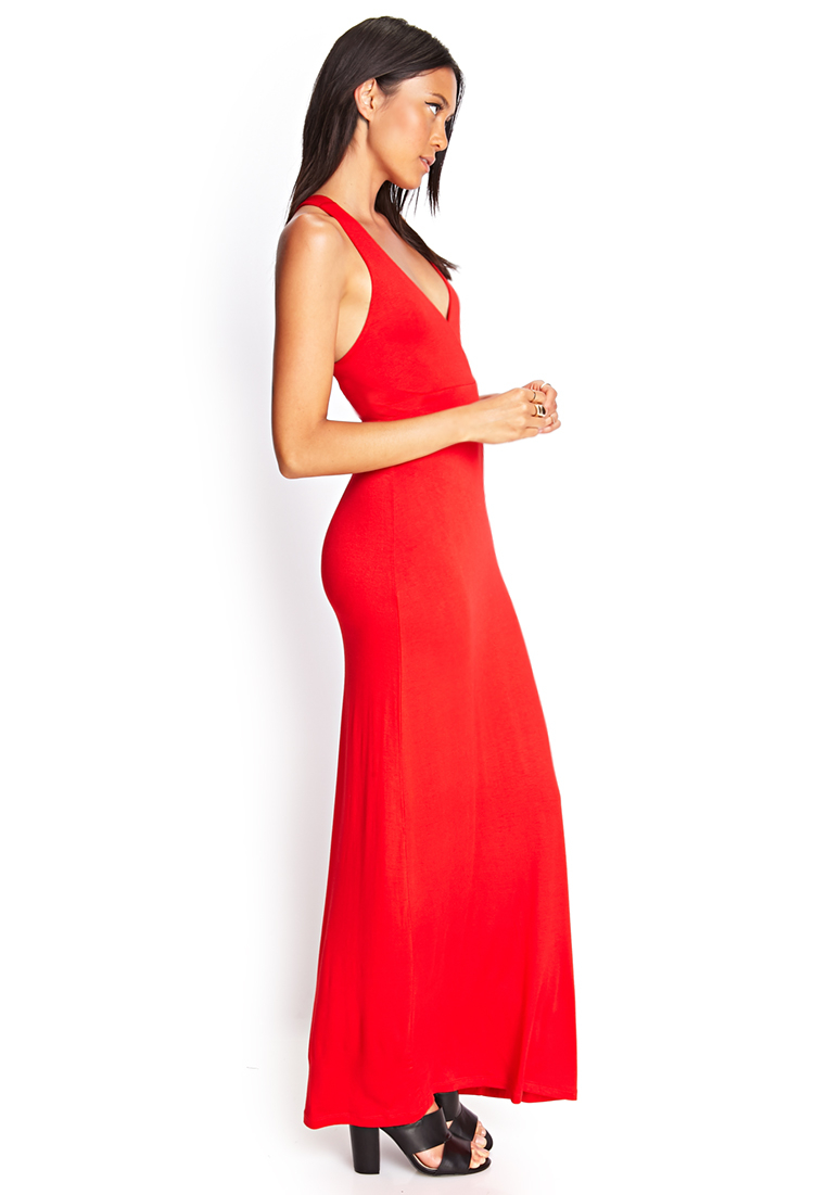 Forever 21 Crossback Surplice Maxi Dress in Red | Lyst
