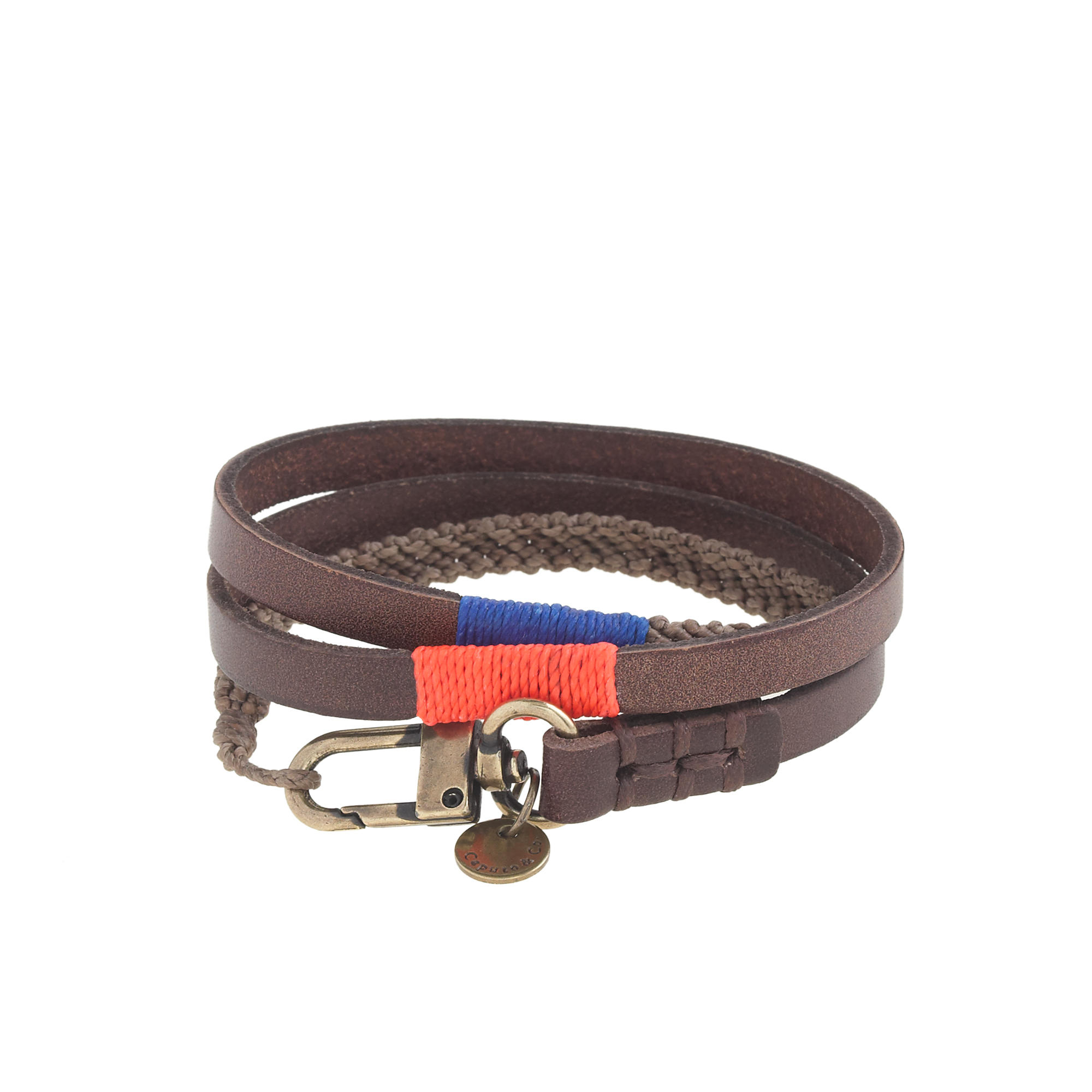 Men S Blue Ca Co Triple Wrap Leather And Waxed Cord Bracelet