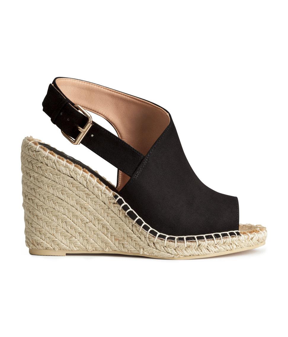 6eef74600ac H&M Black Wedge-heel Sandals