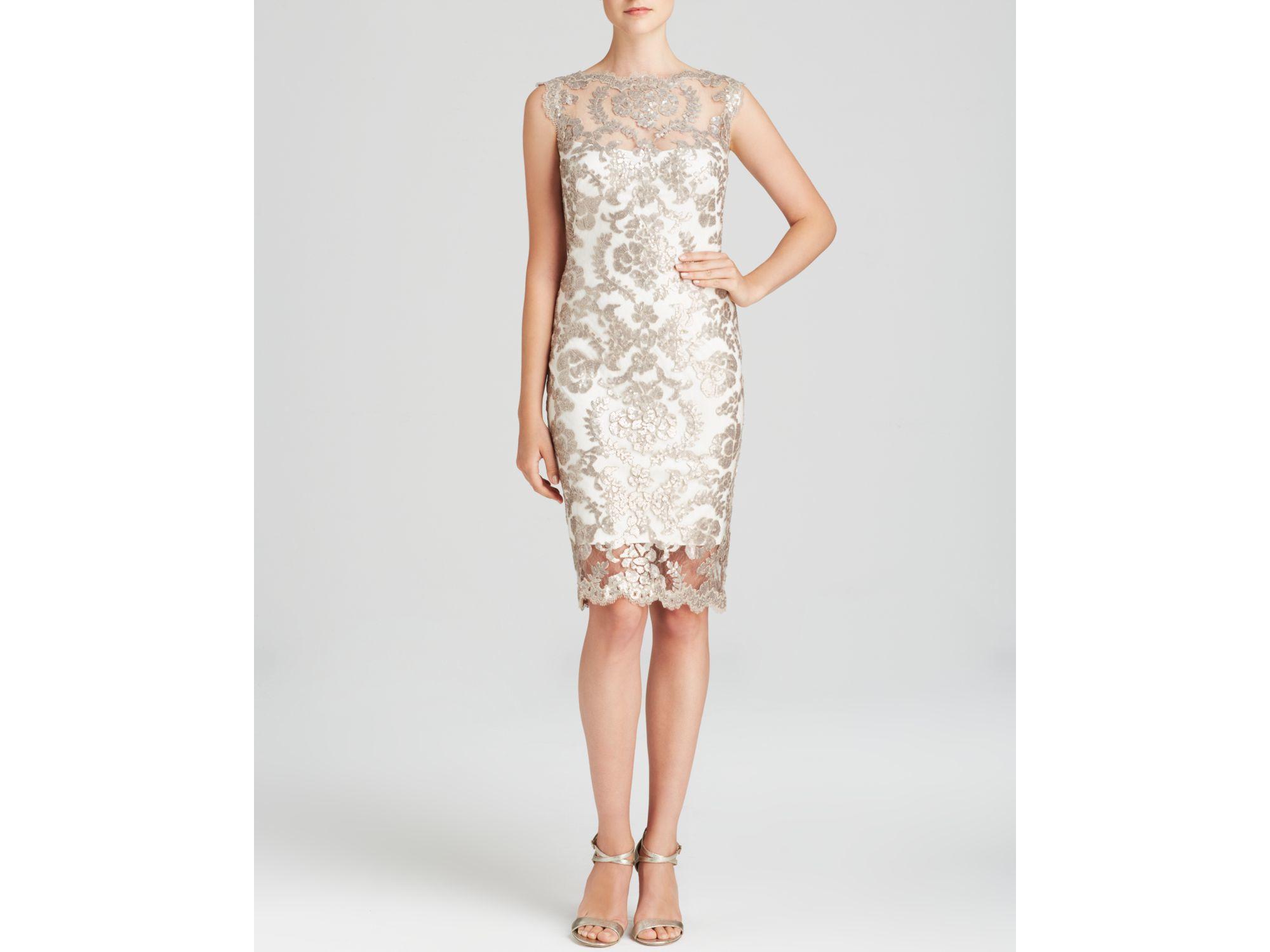 fffa3af2f80 Tadashi Shoji Dress - Sleeveless Illusion Neckline Sequin Lace ...