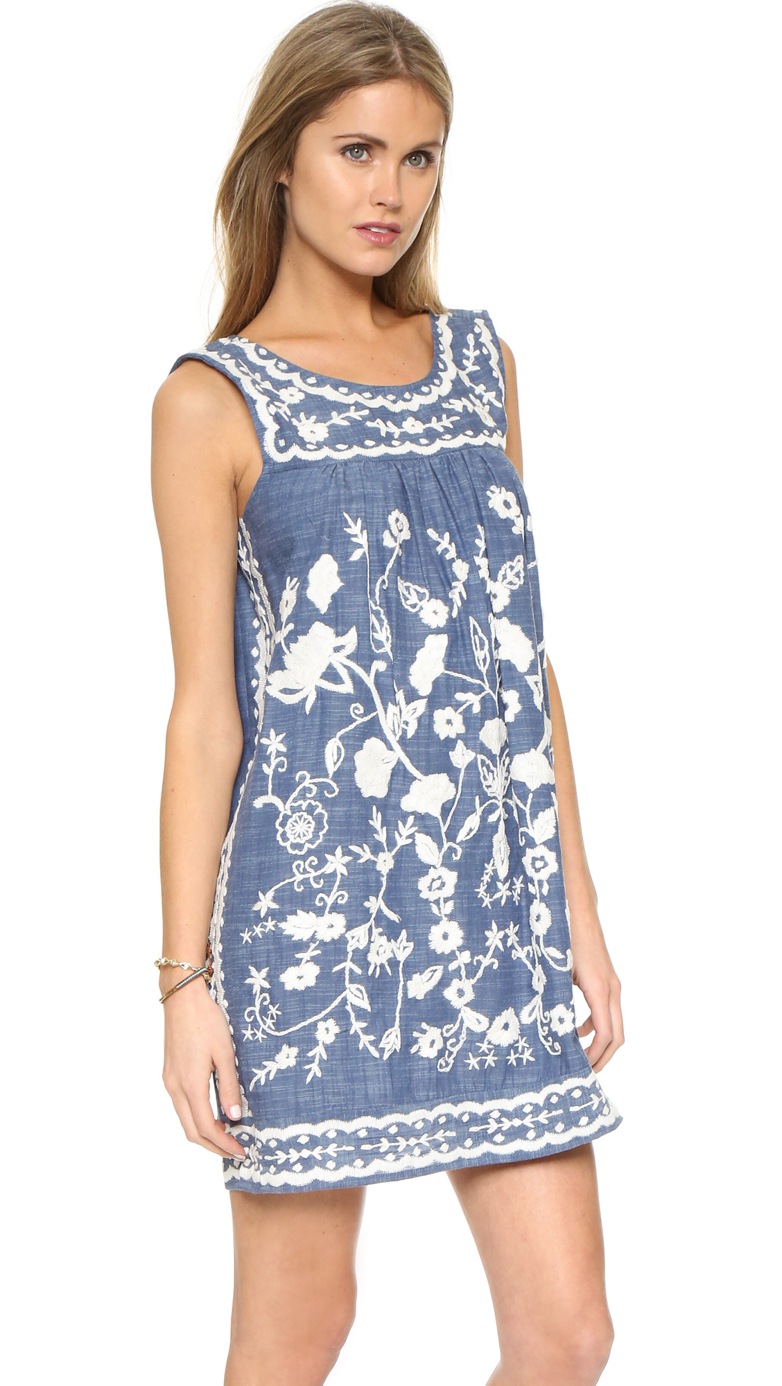 Sea embroidered sleeveless dress in blue lyst