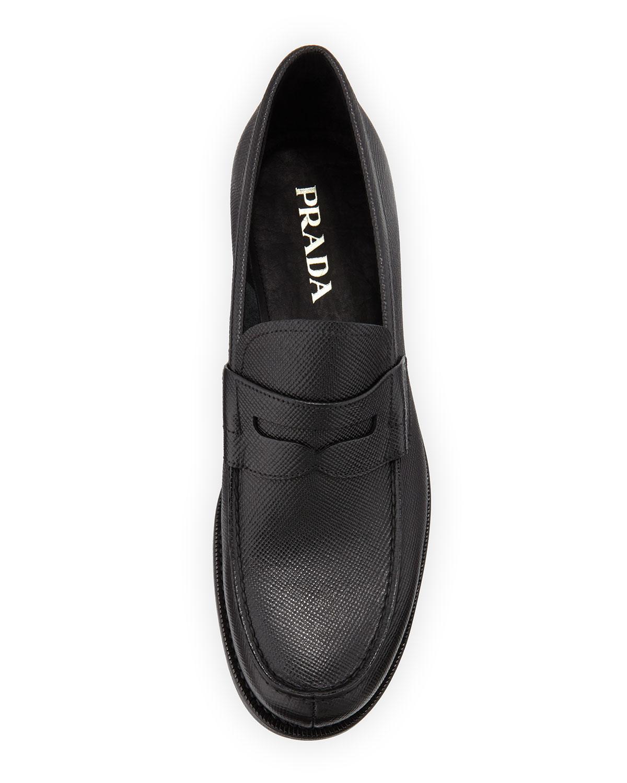 0832d6f137668 Prada Saffiano Penny Loafer in Black for Men - Lyst