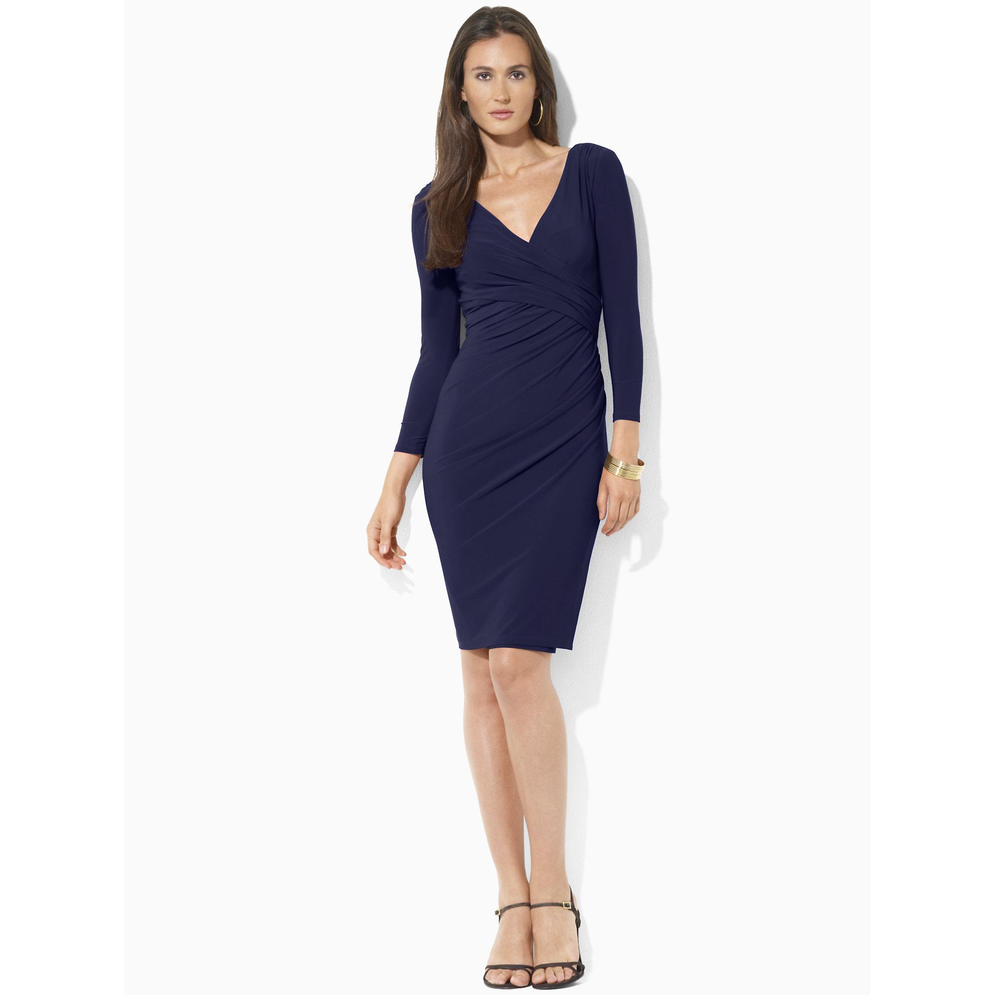 Ralph Lauren Faux Wrap Jersey Dress In Blue Lyst