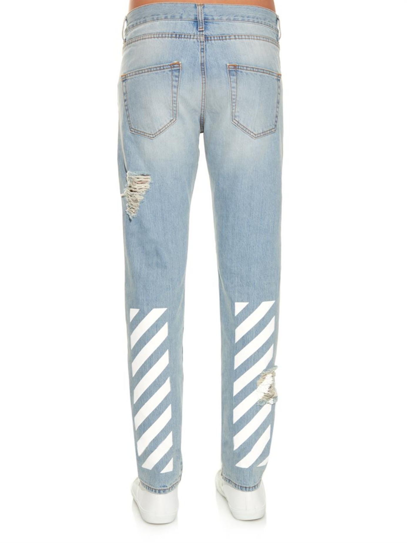 Off-white c/o virgil abloh New White Distressed Jeans in Blue for ...