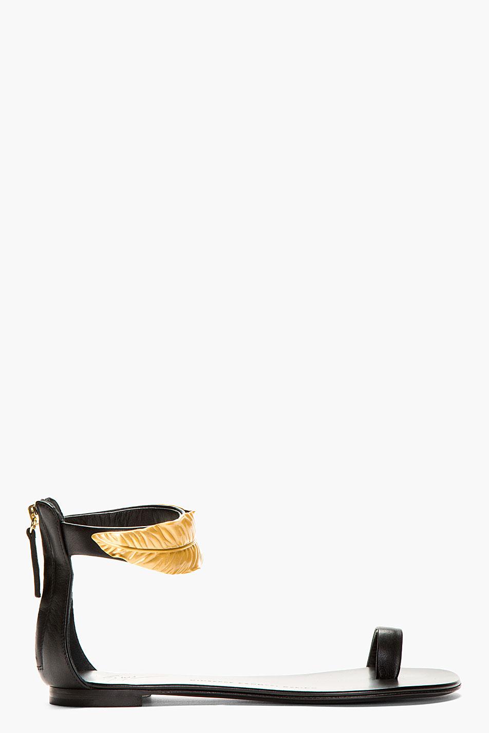 Giuseppe Zanotti Black Nuvorock Gold Leaf Flat Sandals In