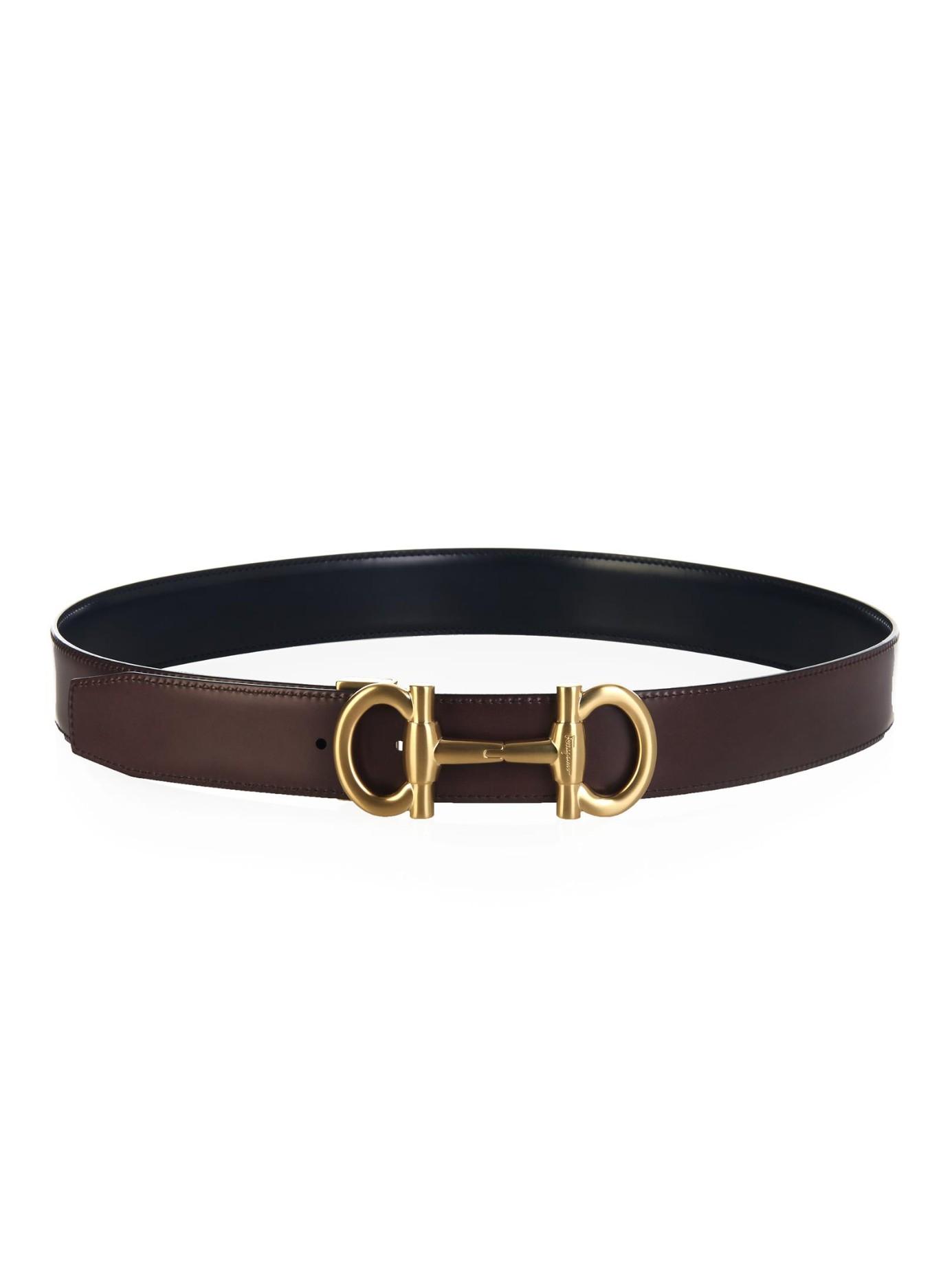 Ferragamo Parigi Reversible Leather Belt In Black For Men