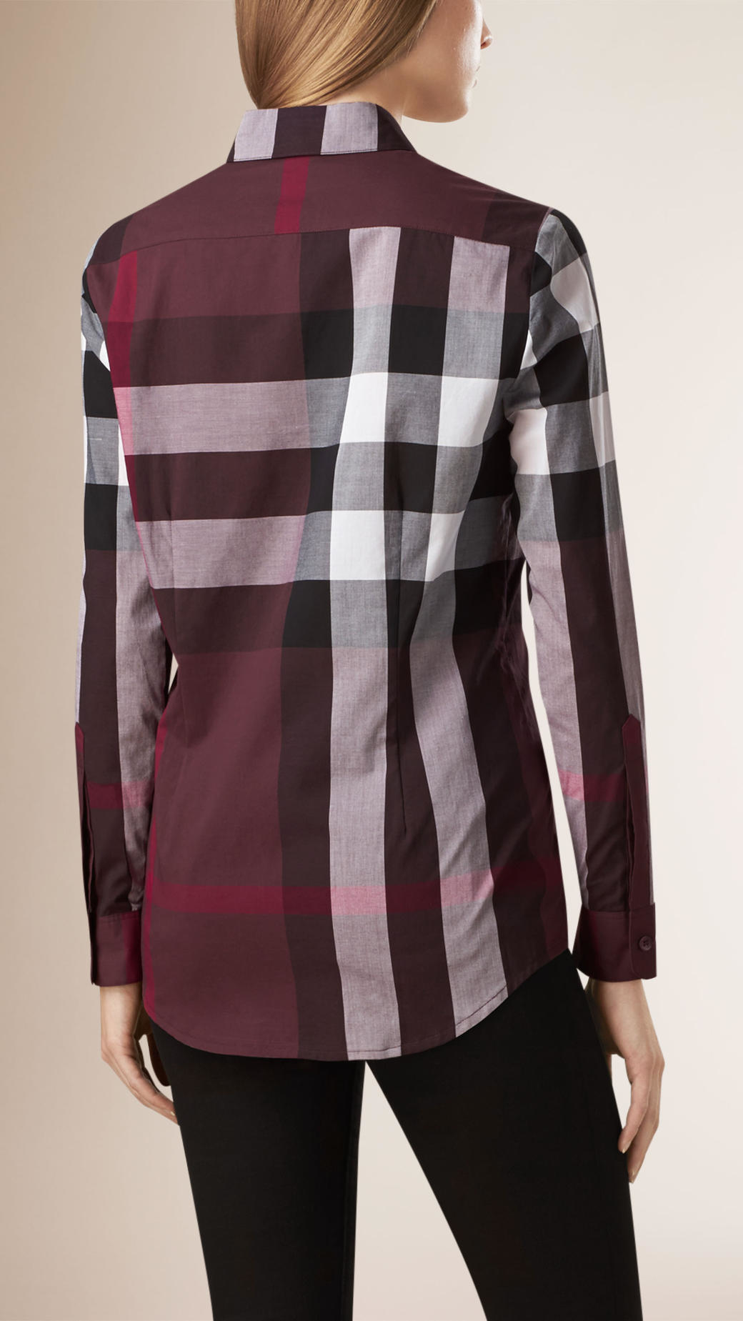 Burberry Check Cotton Shirt Burgundy Red in Red - Lyst 86ea1bebe