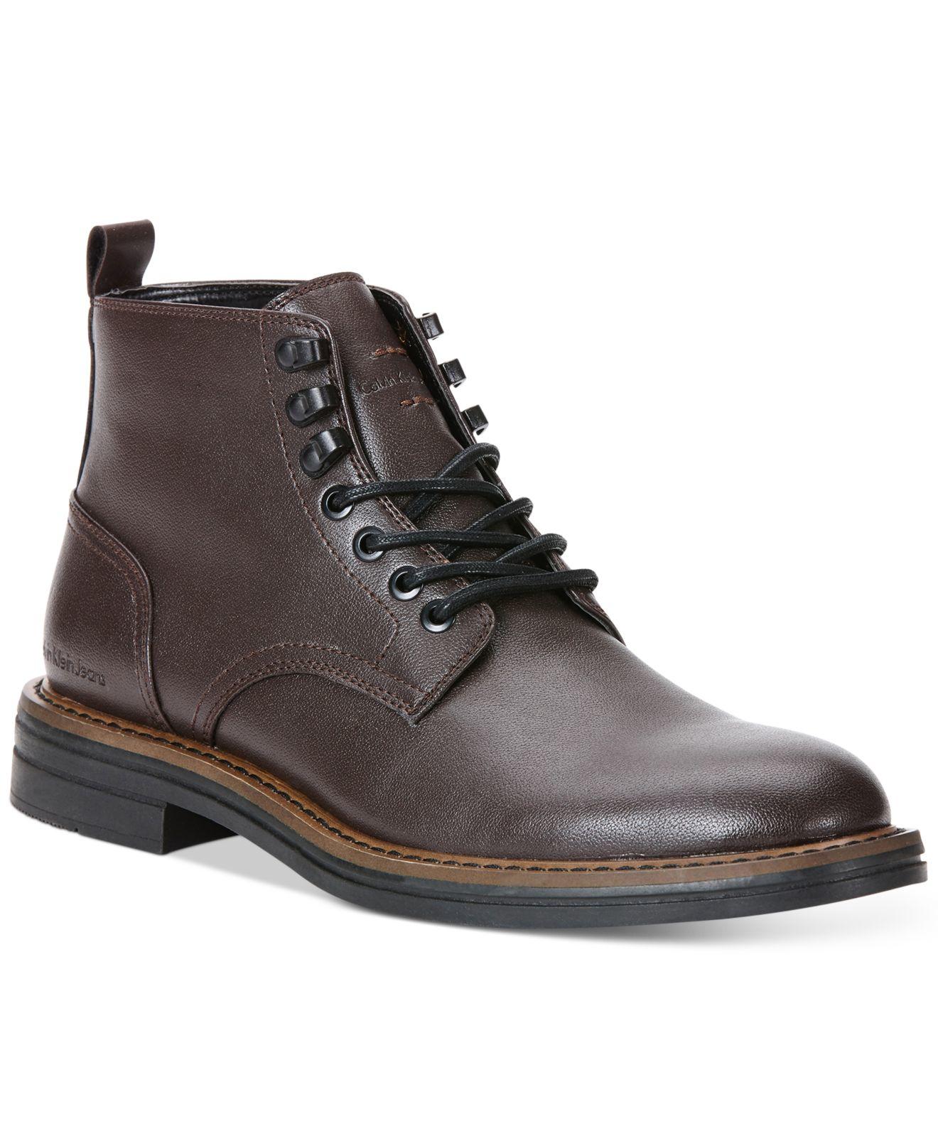 Calvin Klein Edmond Smooth Boots In Dark Brown Brown For