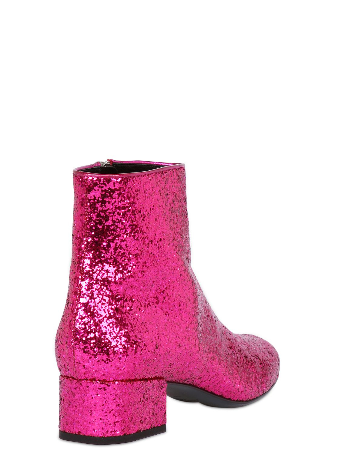Saint laurent 40mm Babies Glittered Leather Ankle Boot in ...