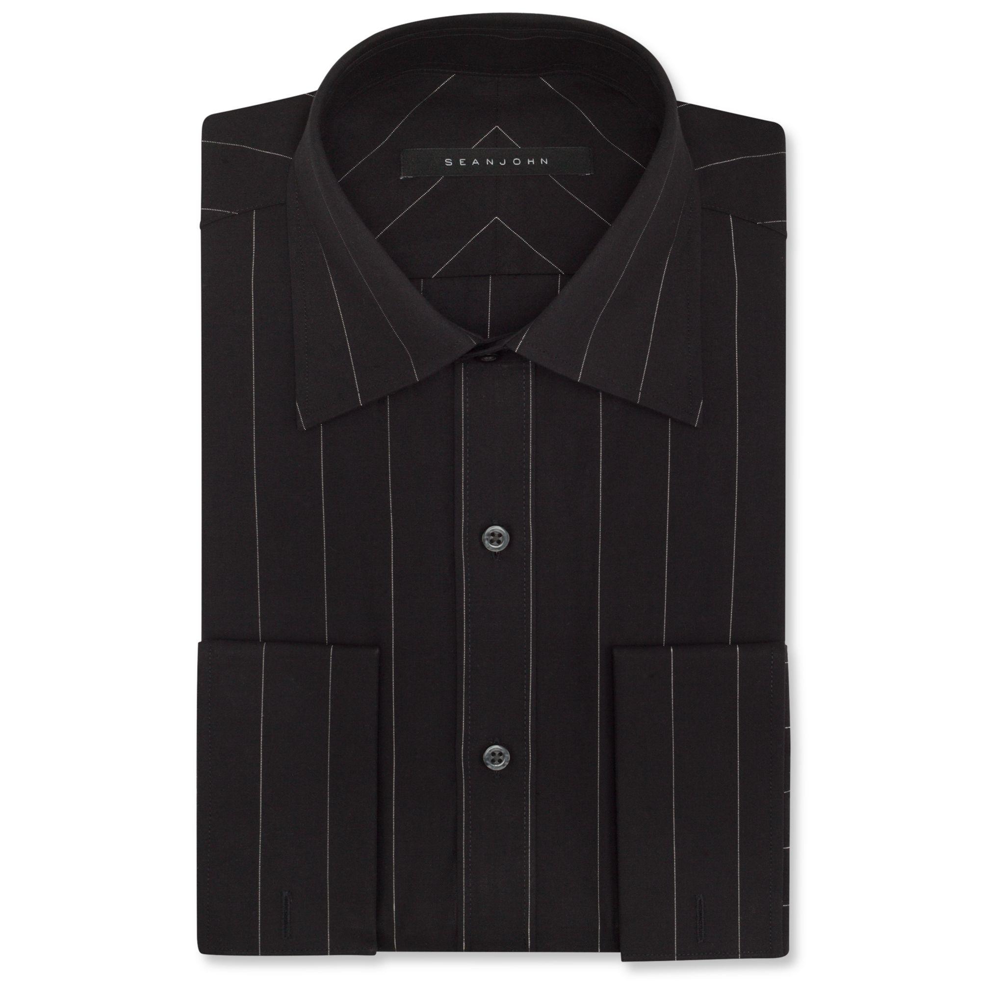 Sean john big and tall lurex pinstripe french cuff shirt for Big and tall french cuff dress shirts