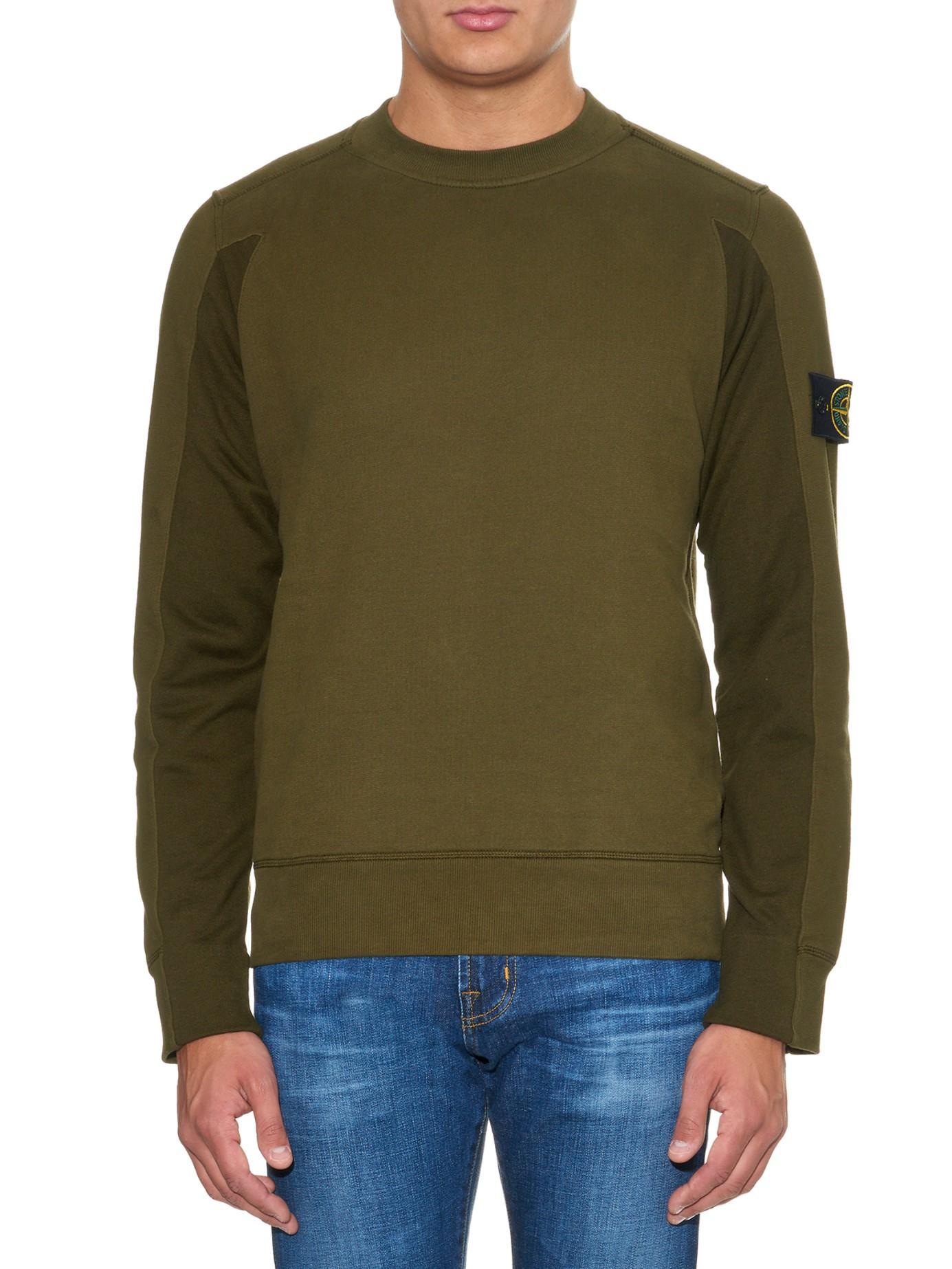 stone island crew neck cotton fleece sweatshirt in brown. Black Bedroom Furniture Sets. Home Design Ideas