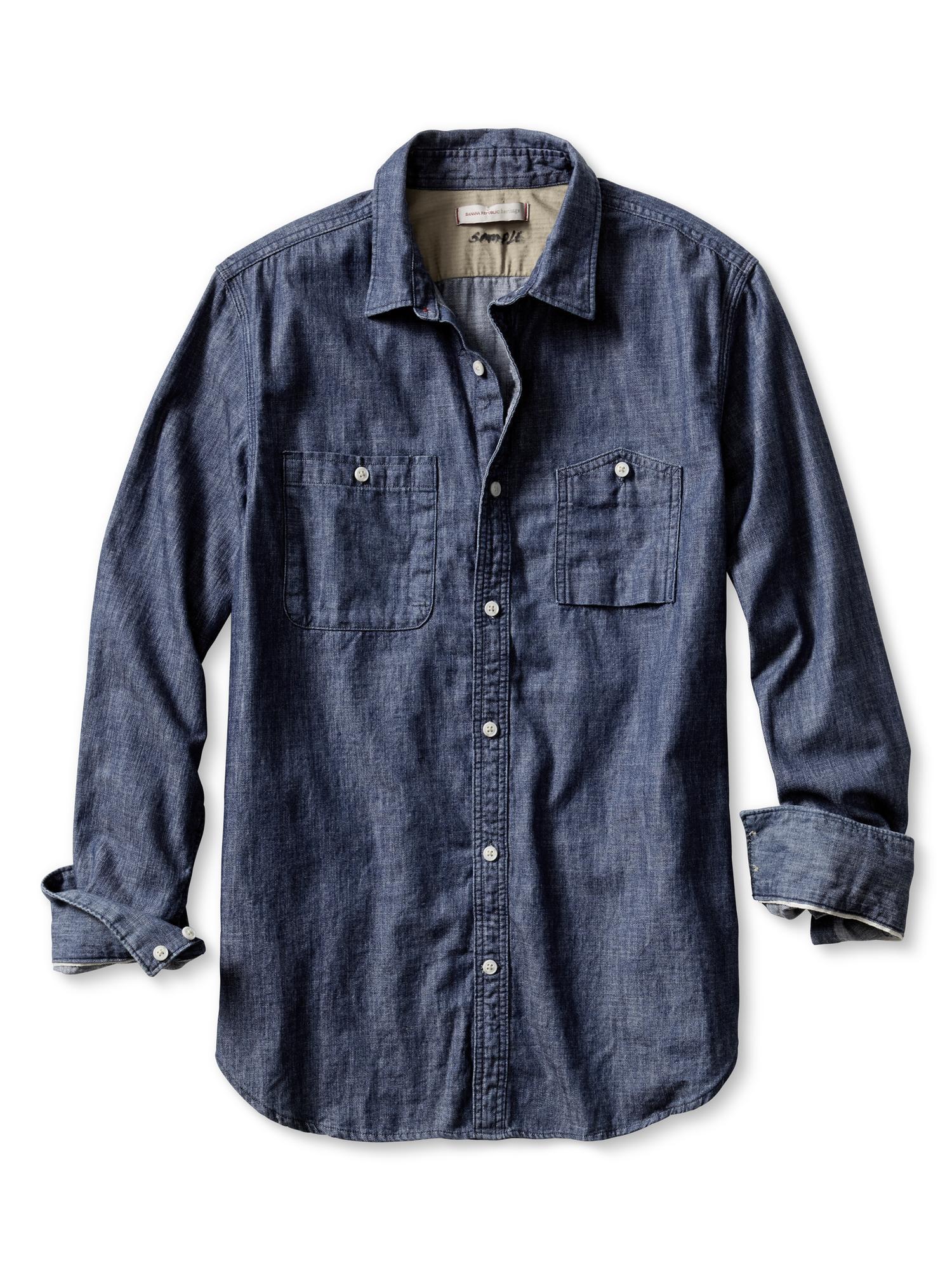 Banana republic heritage denim utility shirt in blue for for Men s dobby shirt