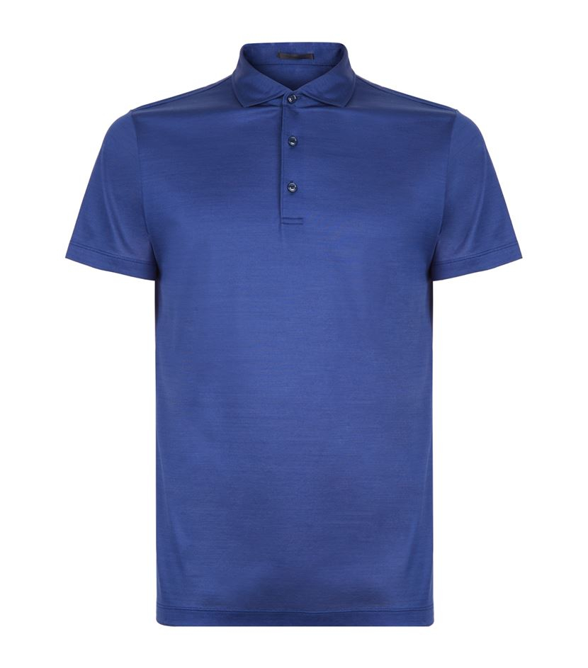 Lyst pal zileri short sleeve cotton polo shirt in blue for Cotton polo shirts for men