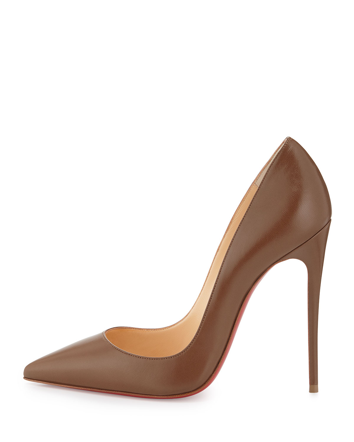 free shipping f4bf8 12e40 Christian Louboutin Brown So Kate Point-toe Red Sole Pump